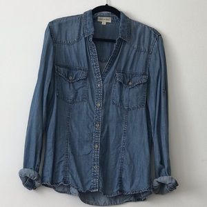 Anthropologie Cloth & Stone Chambray Button Down L